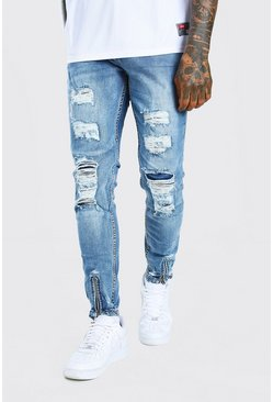 Super Skinny All Over Distressed Jeans, Mid blue