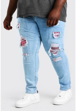 Ice blue Plus Size Super Skinny Rip Bandana Jean