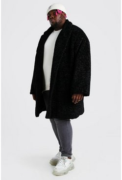 Black Plus Size Faux Fur Teddy Coat