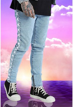 Washed blue Burna Boy Lace Detail Stretch Skinny Jean