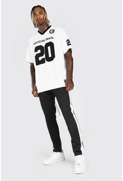 White Loose Fit Official MAN Football Top And Jogger