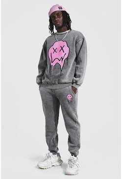 Charcoal Loose Fit Acid Wash Drip Face Sweater Tracksuit