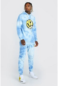 Blue Tie Dye Trippy Print Hooded Tracksuit