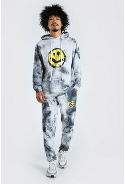 Charcoal Tie Dye Trippy Print Hooded Tracksuit