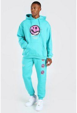 Teal Oversized Trippy Face Hooded Tracksuit