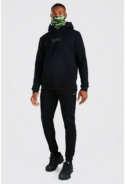 Black Original MAN Camo Snood Tracksuit
