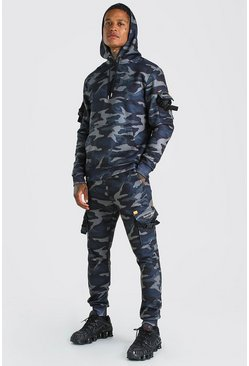 Khaki MAN Official Cargo Camo Buckled Hooded Tracksuit