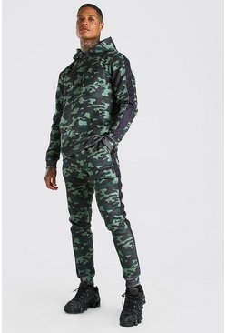 Khaki MAN Official Camo Hooded Tracksuit With Side Panels