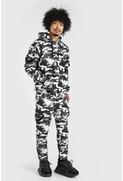 Dark grey MAN Loose Fit Camo Cargo Hooded Tracksuit