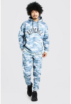 Loose Fit Official Embroidered Camo Tracksuit, Light blue