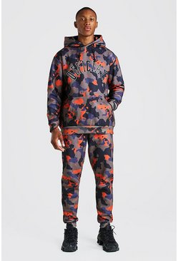 Loose Fit Official Embroidered Camo Tracksuit, Orange