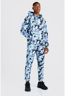 All Over Original MAN Camo Hooded Tracksuit, Light blue