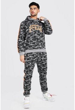 Official Camo Embroidered Hooded Tracksuit, Khaki