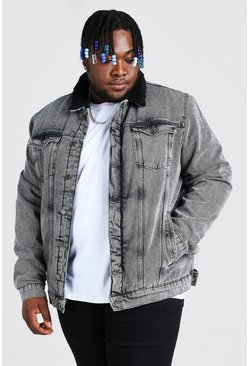 Light grey Plus Size Man Borg Lined Denim Jacket