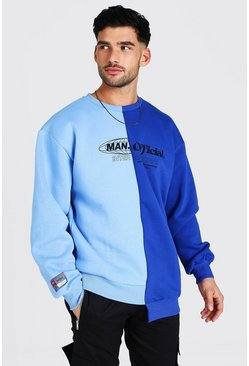 Blue MAN Official Oversized Spliced Step Hem Sweater