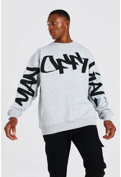 Official MAN Graffiti Oversized Sweater, Grey