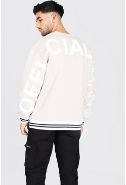 Official MAN Back Print Oversized Sweater, Stone