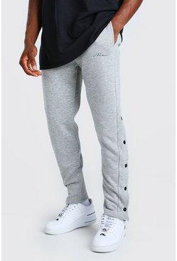 Grey marl MAN Signature Slim Fit Popper Joggers