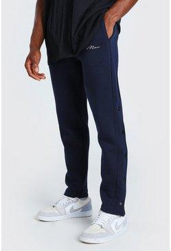 Navy MAN Signature Slim Fit Popper Joggers