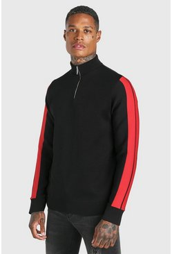 Black Knitted Half Zip Jumper With Stripe Detail