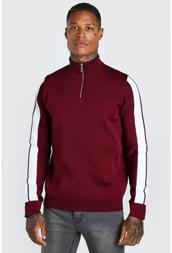 Burgundy Knitted Half Zip Jumper With Stripe Detail