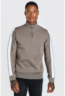Knitted Half Zip Jumper With Stripe Detail, Taupe