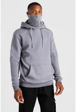 Charcoal Official MAN Zip Snood Hoodie