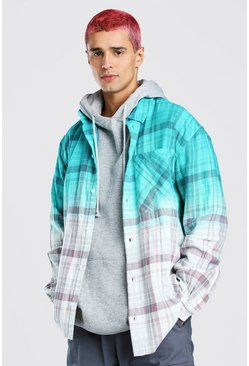 Multi Oversized Ombre Flannel Shirt