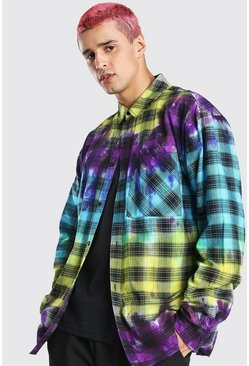 Multi Oversized Tie Dye Check Shirt