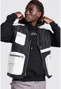 Black Reflective Multi Pocket Utility Vest