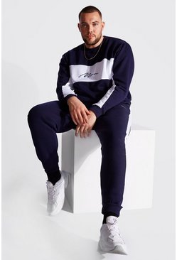 Navy Plus Size MAN Colour Block Tracksuit