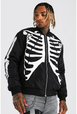 Skeleton Print Bomber, Black