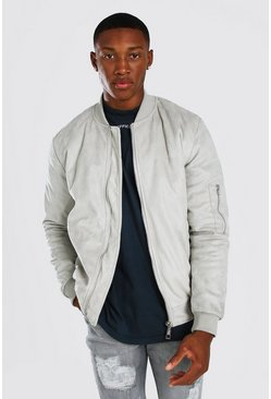 Bomber matelassé en suédine, Light grey