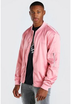 Pink MAN Satin Roman Embroidered Ma1 Bomber