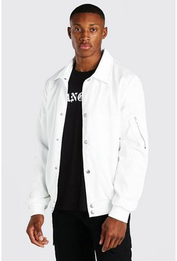 MAN Satin Roman Embroidered Ma1 Harrington, Off white