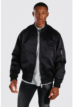 Black MAN Satin Butterfly Embroidered Ma1 Bomber