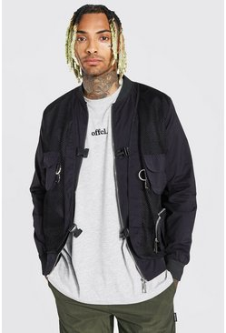 Black 2 In 1 Utility Vest Bomber