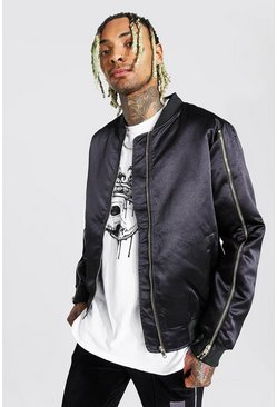 Black Zip Sleeve Smart Satin Bomber