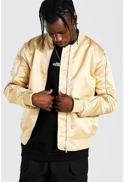 Champagne Zip Sleeve Smart Satin Bomber