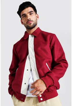 Burgundy Melton Contrast Trims Harrington