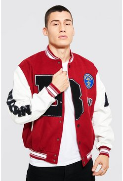 Red B Varsity Patch Bomber With Leather Look Sleeves