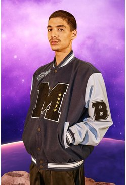 M Varsity Patch Bomber With Leather Look Sleeves, Navy