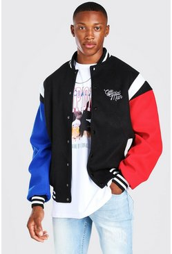 Black Melton Varisty Bomber With Spliced Sleeves