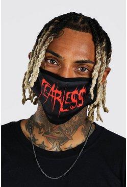 Black Halloween Fearless Slogan Fashion Mask