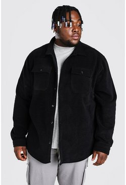 Black Plus Size Man Polar Fleece Shirt Jacket