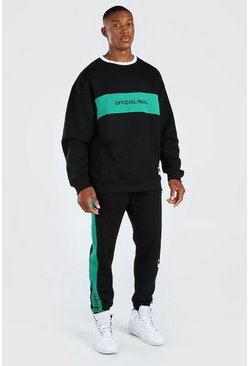 Green Official Oversized Colour Block Sweater Tracksuit