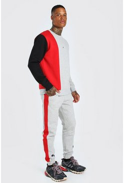 Red Official Colour Block Sweater Tracksuit