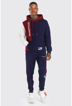 Navy Official Colour Block Hooded Tracksuit