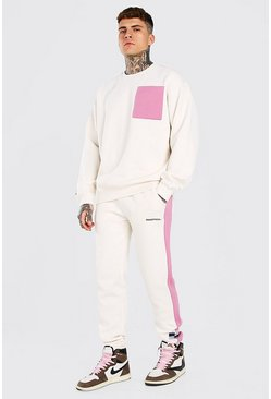 Oversized Colour Block Sweater Tracksuit, Light pink