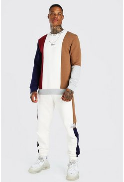 Ecru MAN Dash Colour Block Sweater Tracksuit